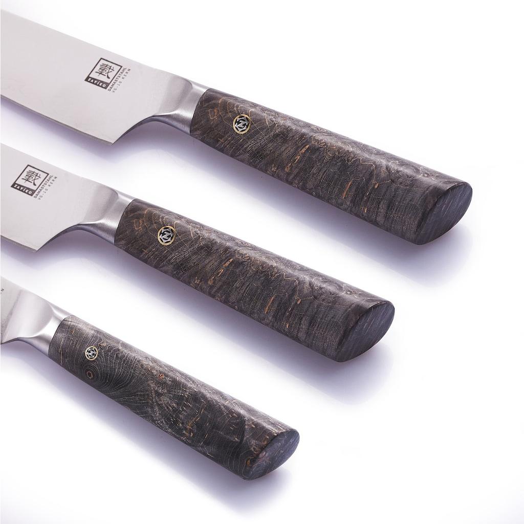 ZAYIKO Messer-Set »Profi Serie«, (Set, 3 tlg., Chefmesser, Fleischmesser, Allzweckmesser), veredelter Ahorngriff