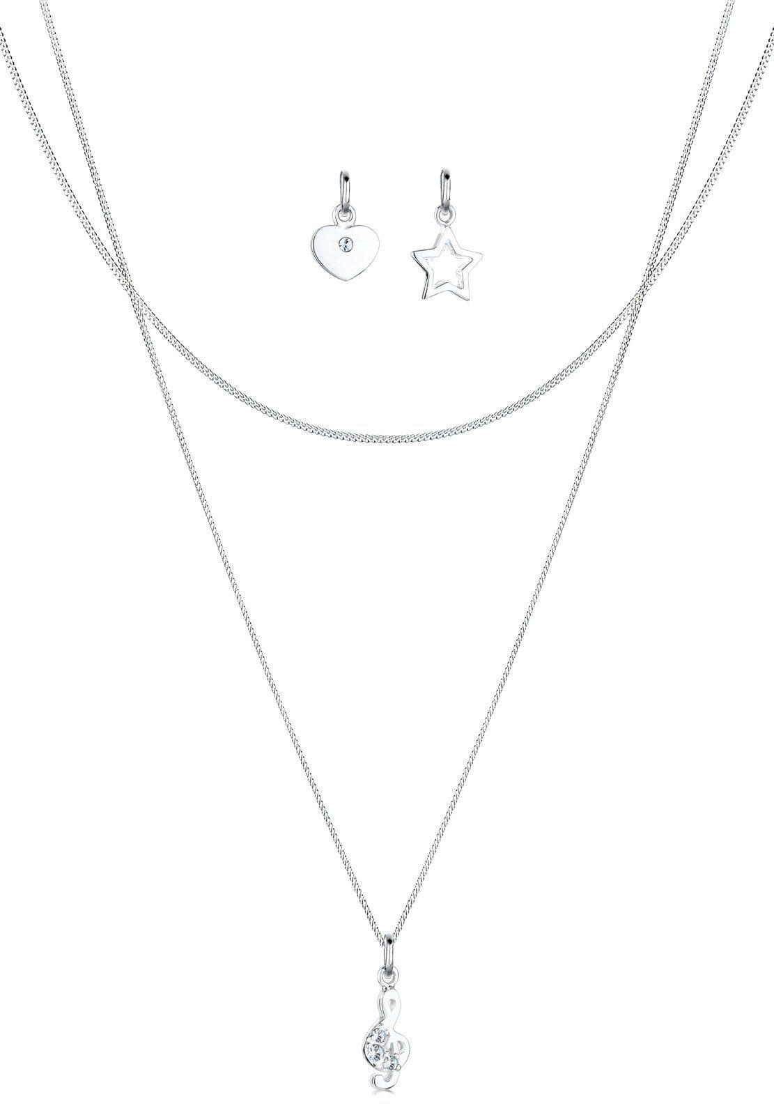 Elli Ketten-Set Notenschlüssel Swarovski Kristalle 925 Silber | Schmuck > Halsketten > Silberketten | Elli