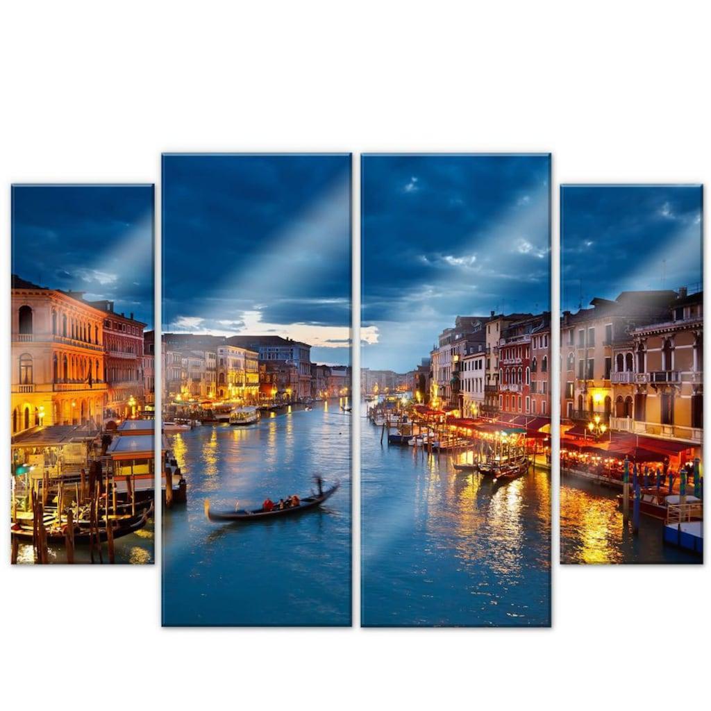 Wall-Art Mehrteilige Bilder »Canal Grande Venedig (4-teilig)«, (Set, 4 St.)