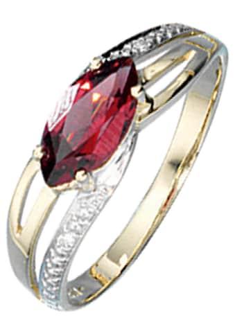 JOBO Diamantring, 585 Gold bicolor mit Granat und 2 Diamanten kaufen