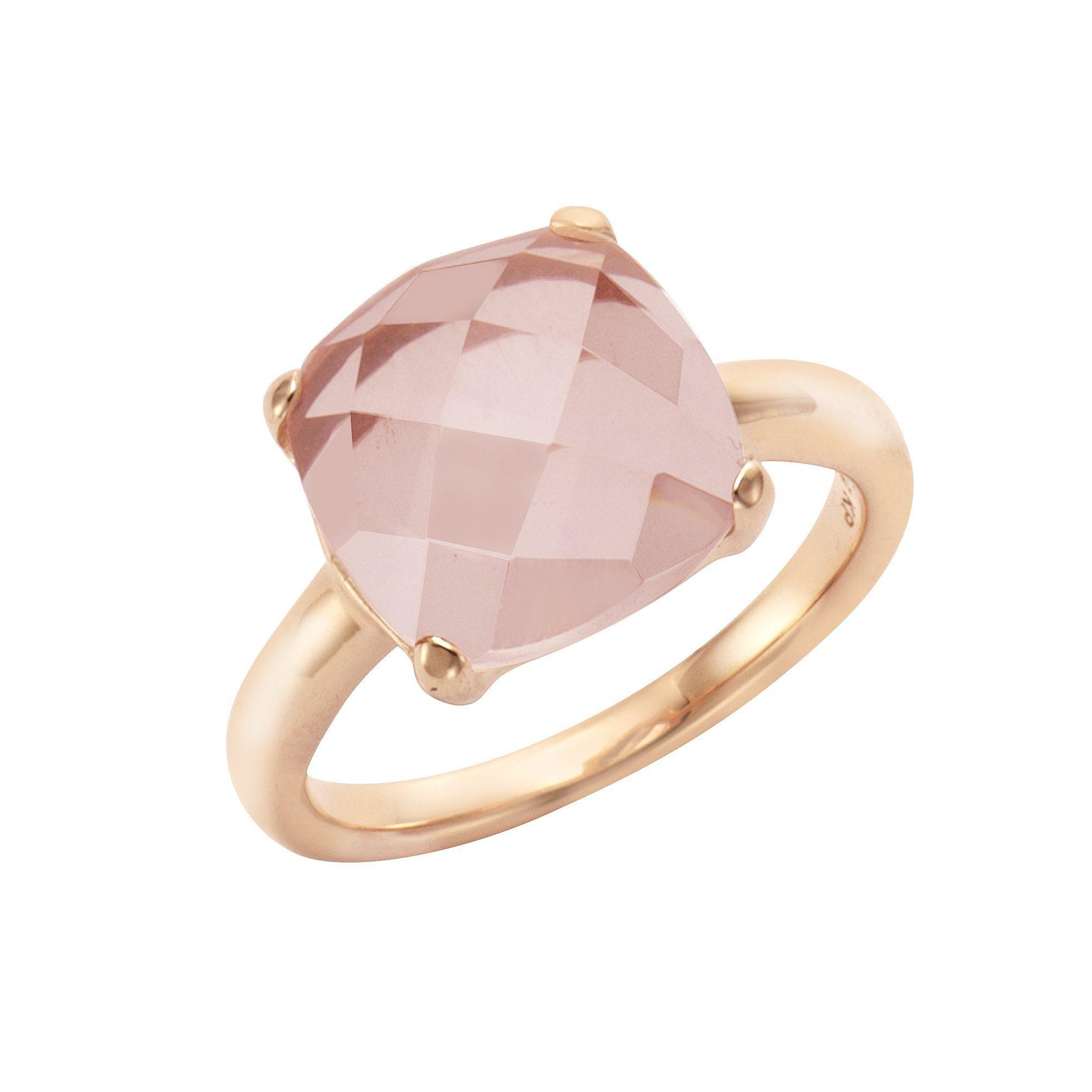Jamelli Ring 925/- Sterling Silber rotverg mit Rosenquarz   Schmuck > Ringe > Silberringe   Jamelli