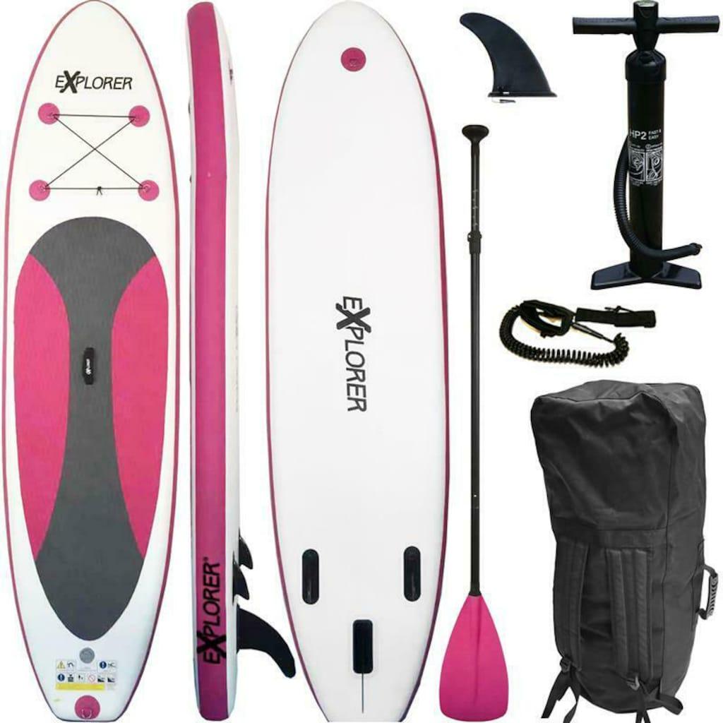 EXPLORER Inflatable SUP-Board »Explorer SUP 300 pink«, (Set, mit Paddel, Pumpe und Transportrucksack)