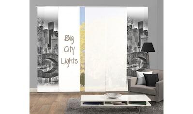 HOME WOHNIDEEN Schiebegardine »TEILA 5er SET«, Dekostoff-Seidenoptik, Digital bedruckt kaufen