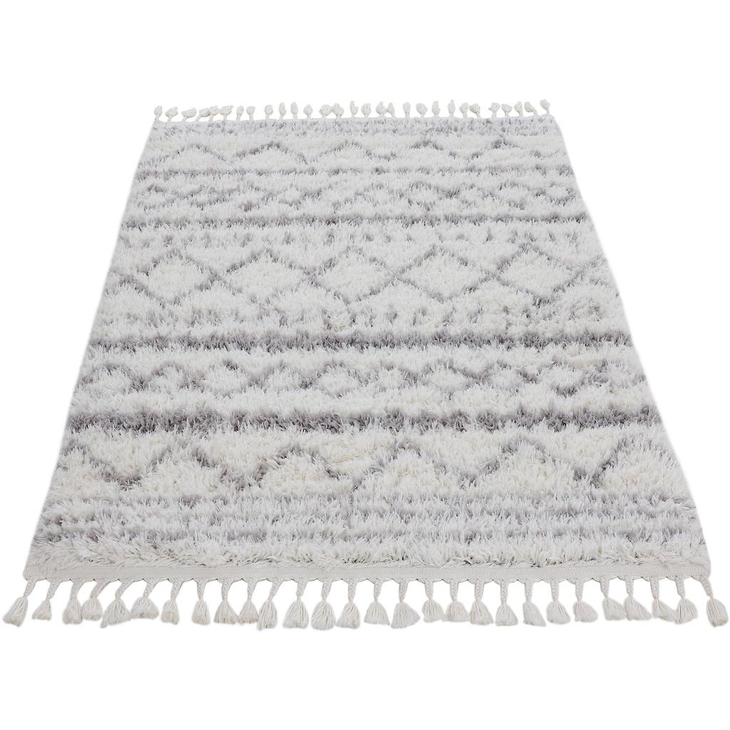 carpetfine Hochflor-Teppich »Tavie«, rechteckig, 30 mm Höhe, mit Fransen, Wohnzimmer