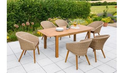 MERXX Gartenmöbelset »Arrone«, 13 - tlg., 6 Sessel, Tisch ausziehbar, Polyrattan/Akazie kaufen