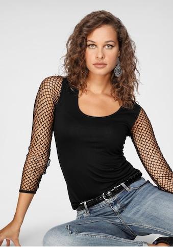 Melrose Rundhalsshirt, mit elastischen Ärmeln aus Netz kaufen