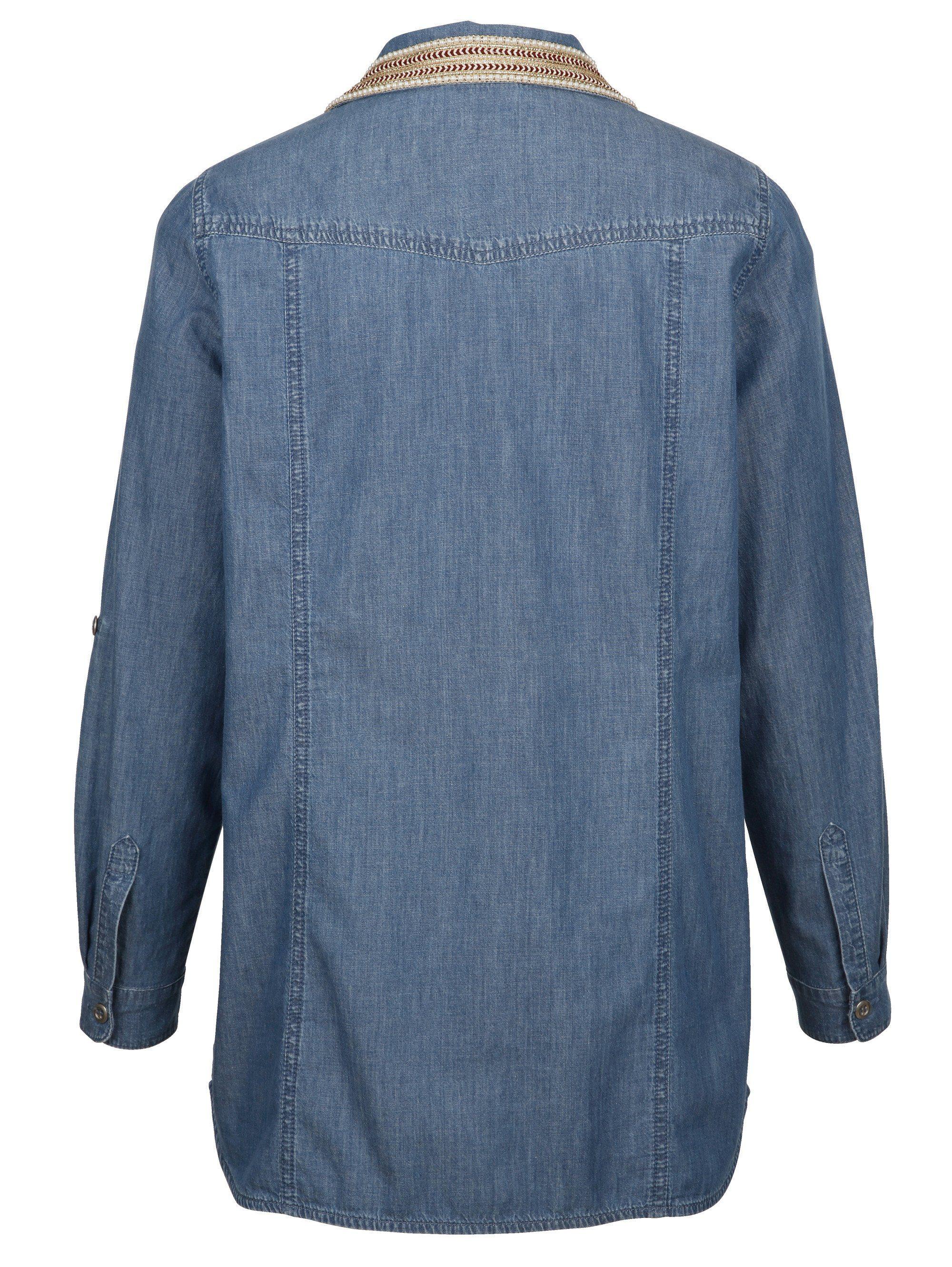 MIAMODA Jeansbluse mit modischem Kragen