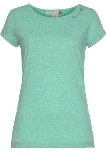 Ragwear Plus T-Shirt »MINT PLUS«, mit geschwungenem Logoschriftzug und Zierknopf in natürlicher Holzoptik kaufen