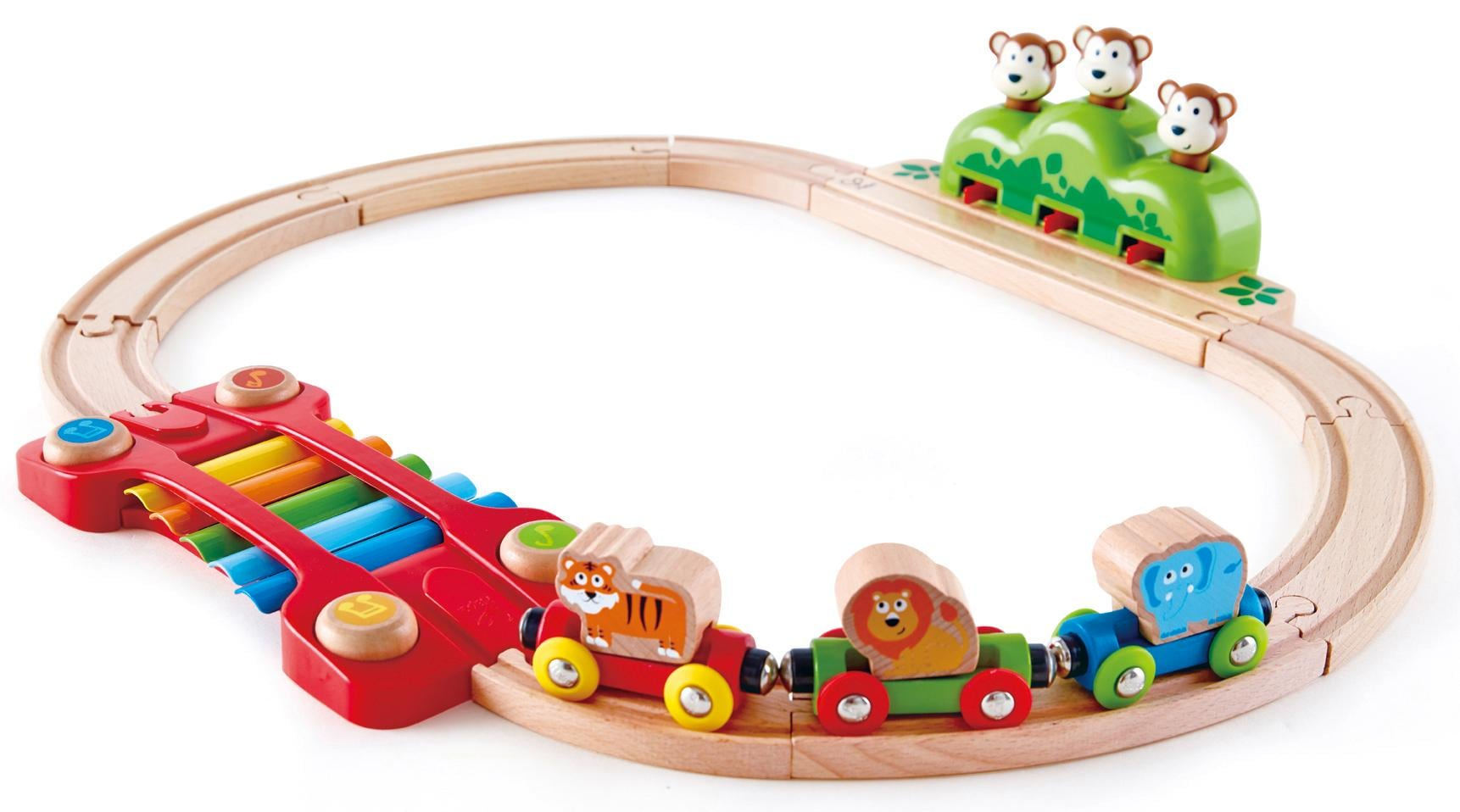 Hape Spielzeug-Eisenbahn Kleines Tier-Eisenbahnset, aus Holz bunt Kinder Holzspielzeug