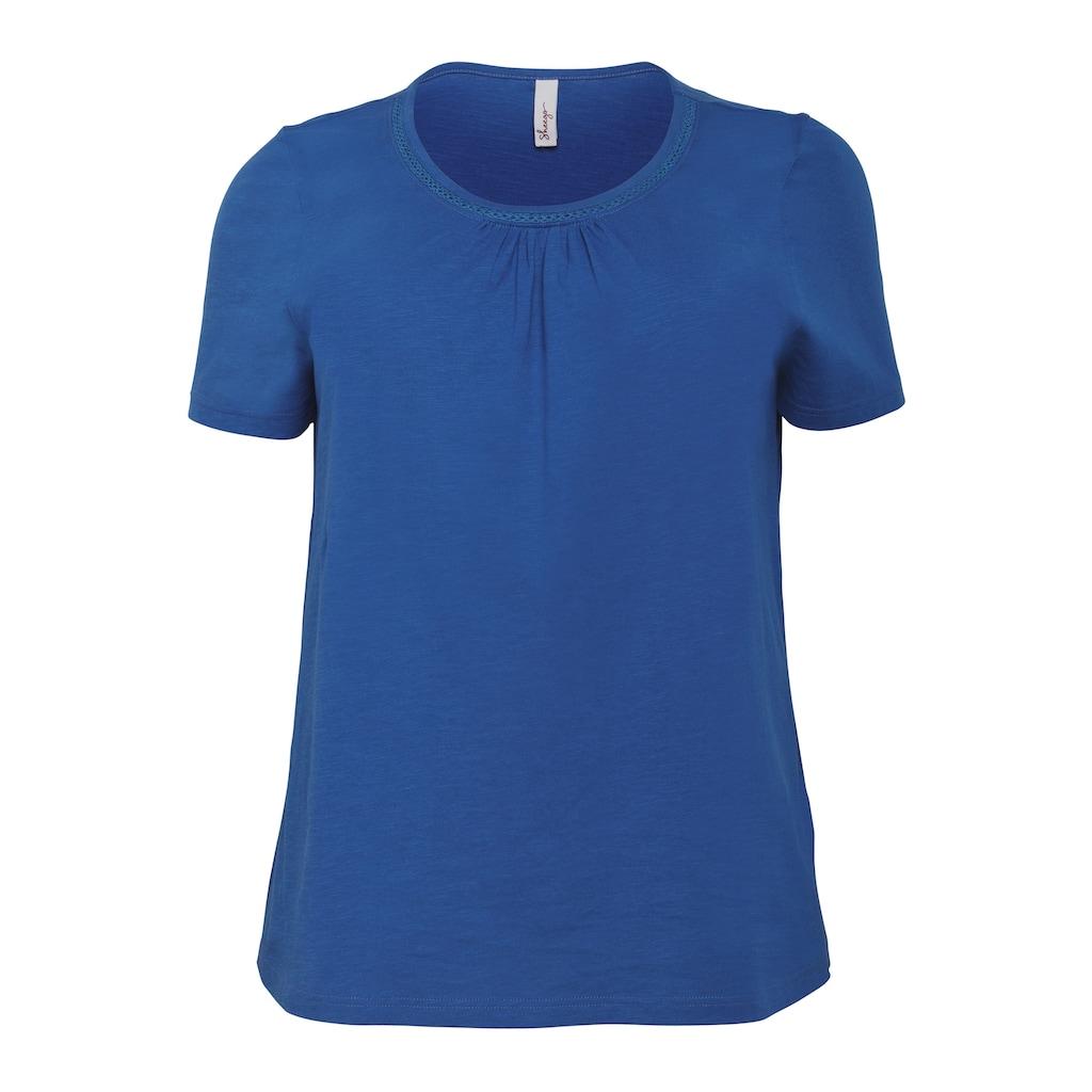 Sheego T-Shirt, mit Raffung und Häkelspitze
