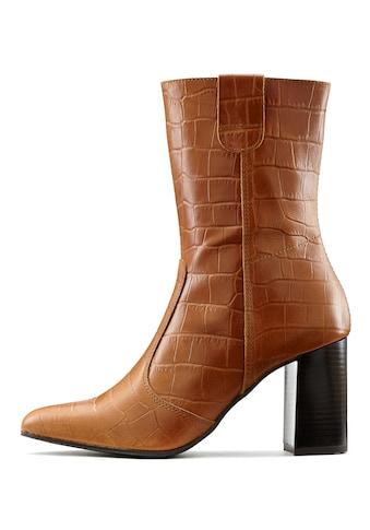 LASCANA Stiefelette, mit angesagter Kroko-Prägung aus Leder mit Blockabsatz kaufen