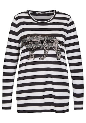 FRAPP Modisches Ringel - Shirt mit Leopard aus Pailletten Plus Size kaufen