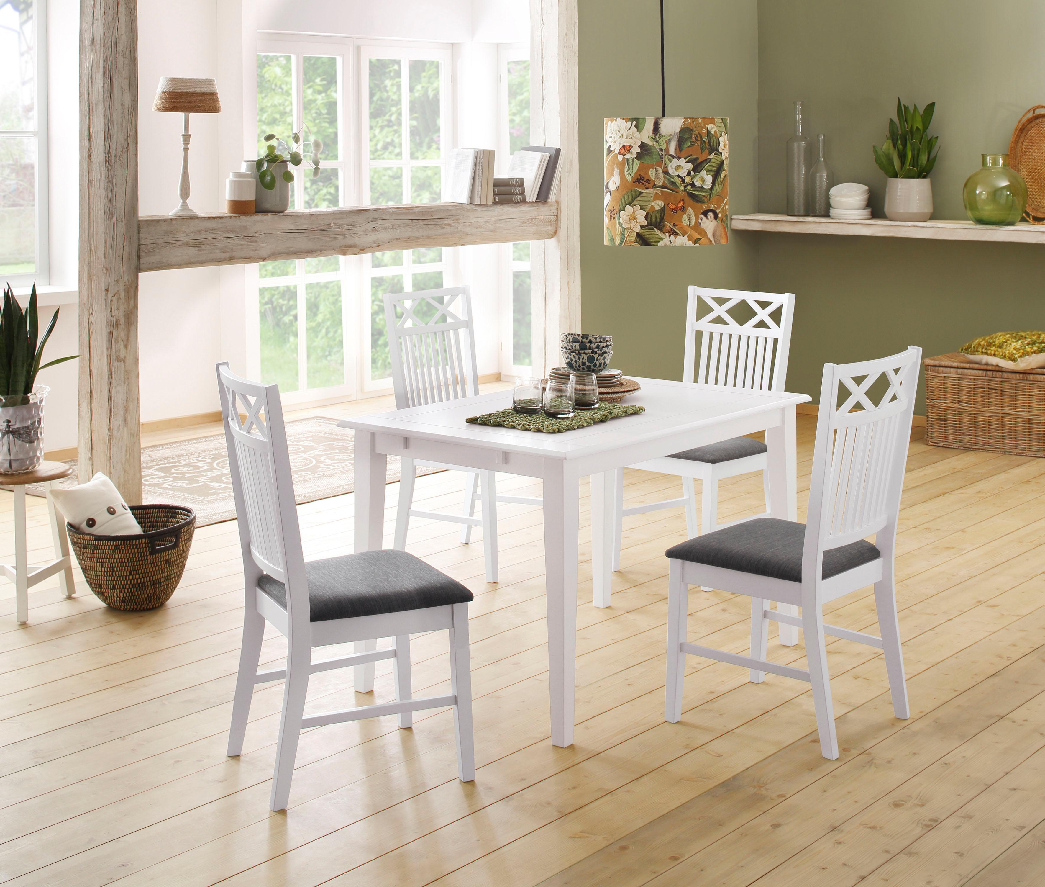 Home affaire Essgruppenset Olvera aus massivem Kiefernholz bestehend aus Fullerton Esstisch 120 cm und 4 Sonoma Esszimmerstühlen (5-tlg)