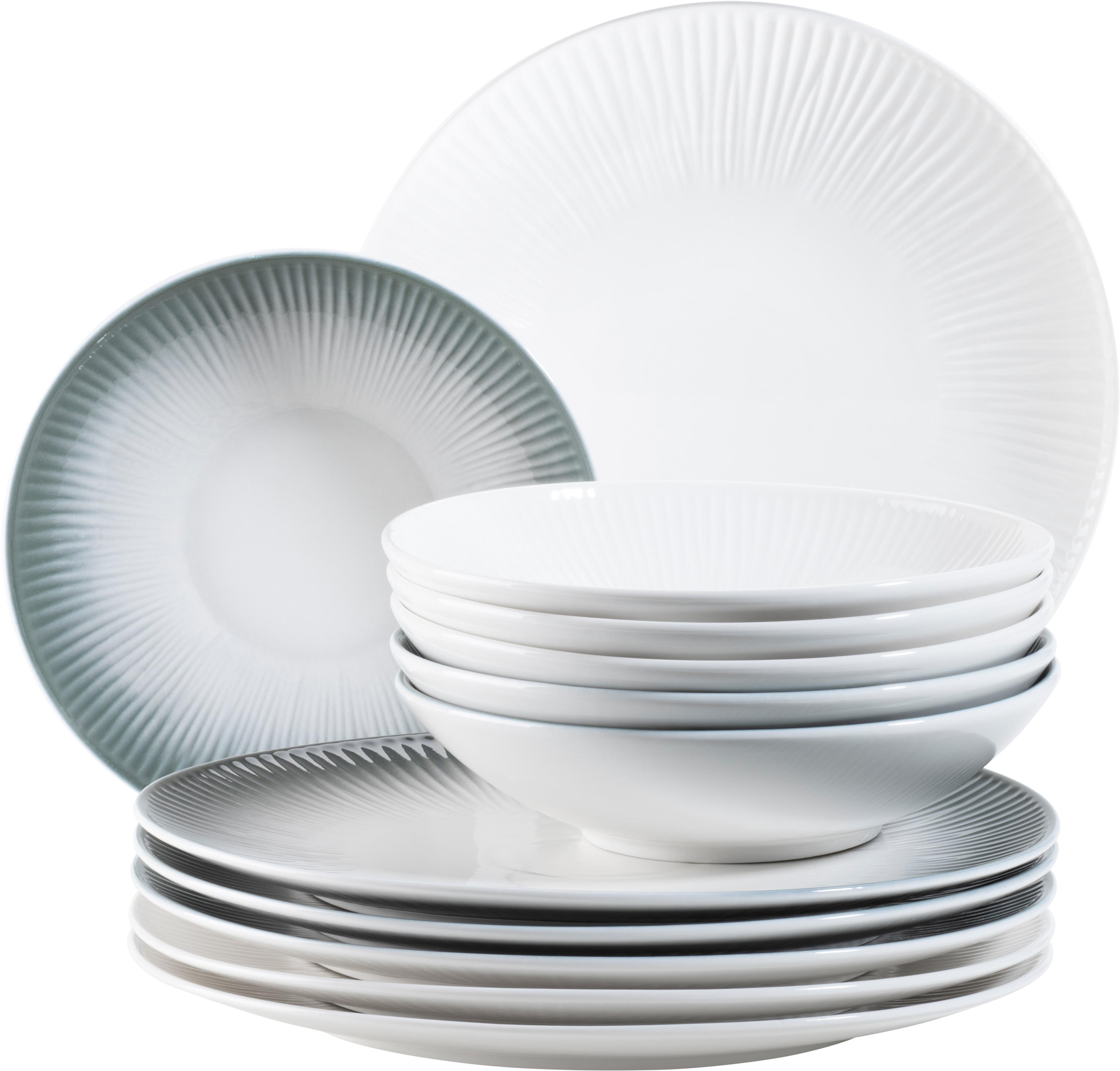 MÄSER Tafelservice Dalia, (Set, 12 tlg.), Vintage-Look, grau/weiß grau Geschirr-Sets Geschirr, Porzellan Tischaccessoires Haushaltswaren
