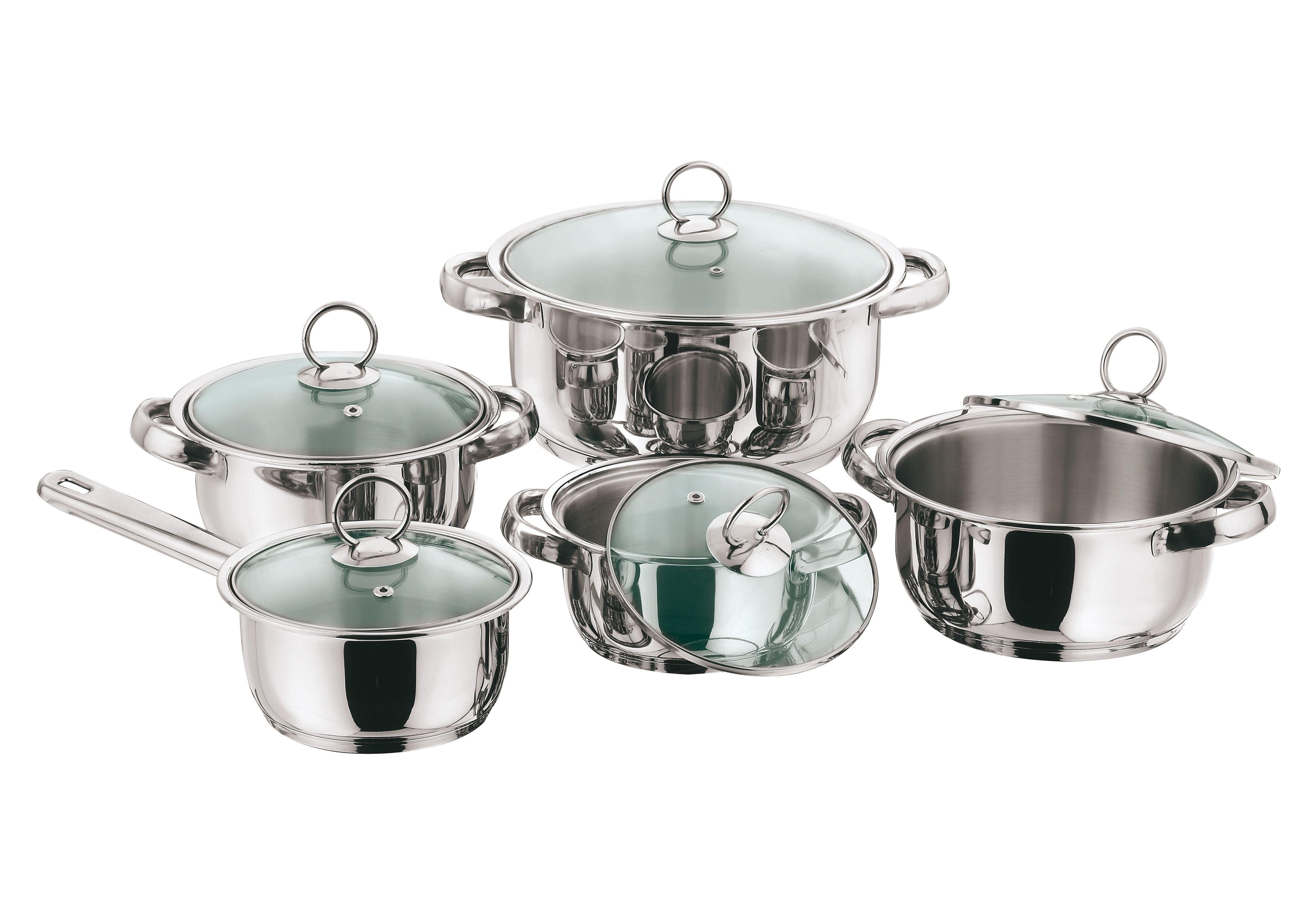 KING Topf-Set New Silver Line Glass (Set, 10-tlg.) silberfarben Topfsets Töpfe Haushaltswaren Topf