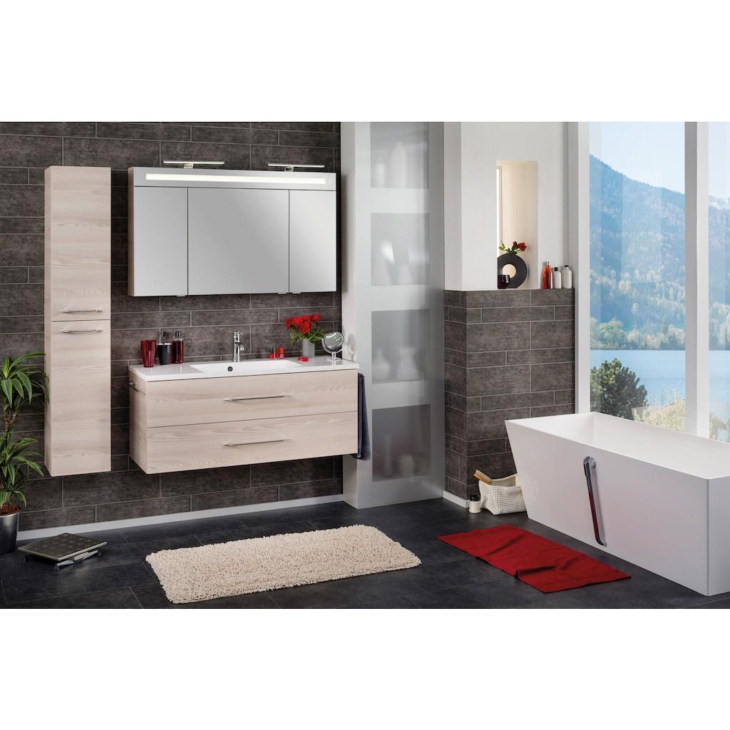 FACKELMANN Spiegelschrank »CL 120 - Alaska-Esche«, Breite 120 cm, 3 Türen, LED-Badspiegel, doppelseitig verspiegelt