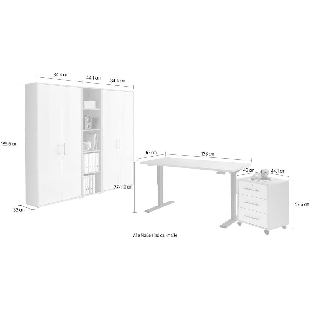 BMG Büromöbel-Set »Tabor«, (Set, 5 St.), mit elektrisch höhenverstellbarem Schreibtisch