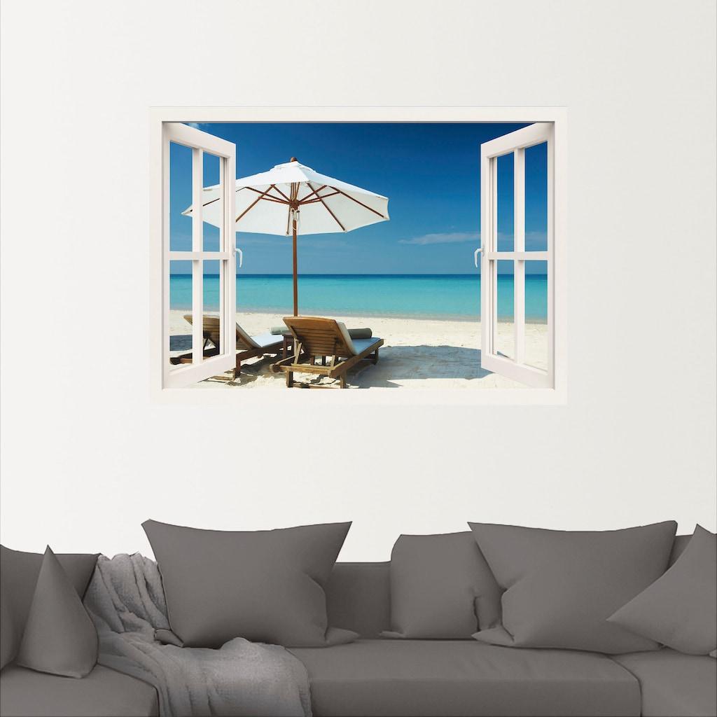 Artland Wandbild »Fensterblick - Zwei Liegestühle«, Fensterblick, (1 St.), in vielen Größen & Produktarten -Leinwandbild, Poster, Wandaufkleber / Wandtattoo auch für Badezimmer geeignet