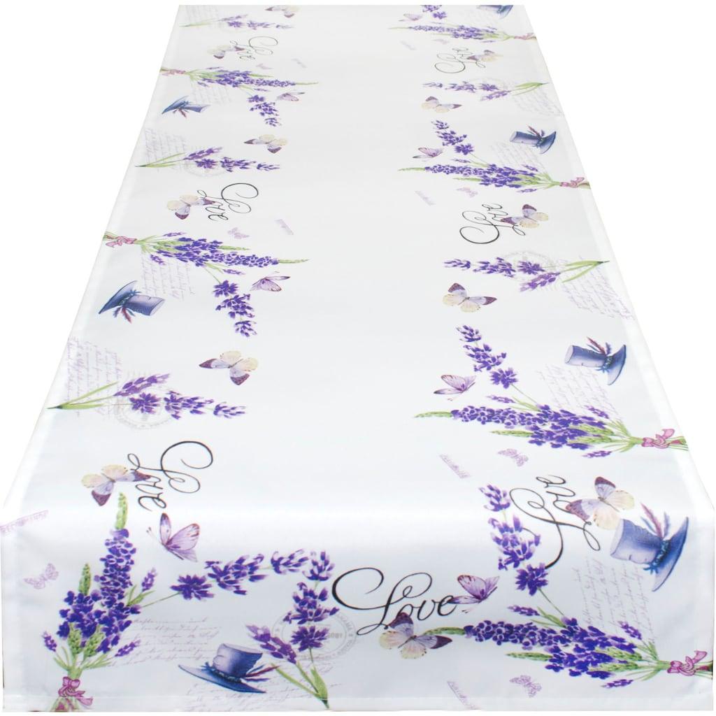 Delindo Lifestyle Tischläufer »Lavendel ZWEIGE«, (1 St.), Strukturgewebe, bedruckt