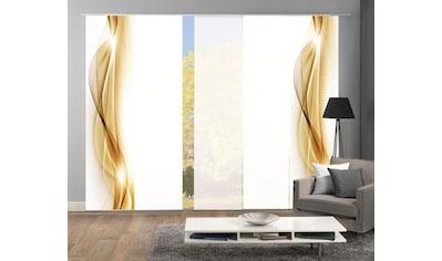 HOME WOHNIDEEN Schiebegardine »NEBLANA 5er SET«, Dekostoff-Seidenoptik, Digital bedruckt kaufen