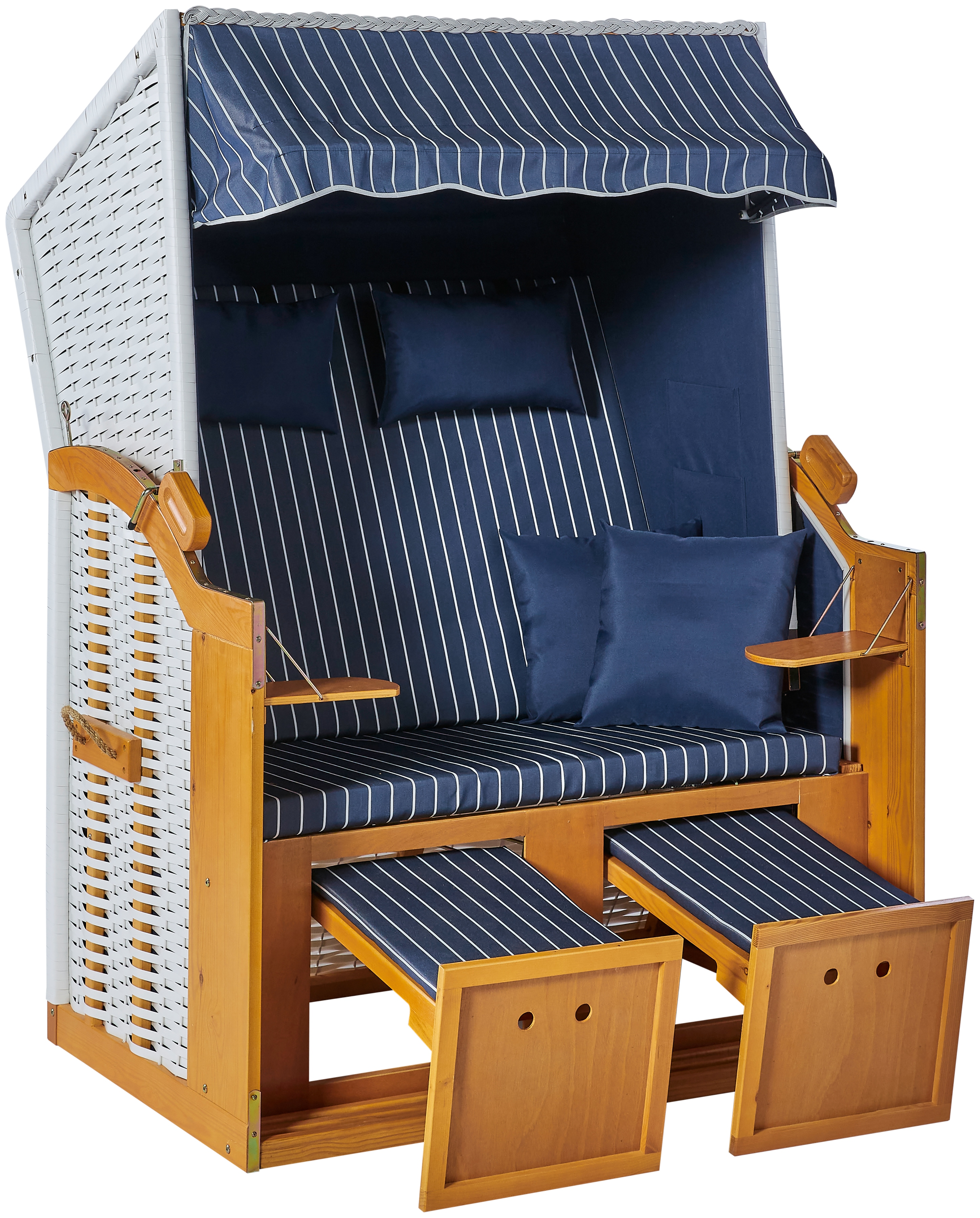 KONIFERA Strandkorb Amrum, BxTxH: 115x150x72 cm, 2-Sitzer blau Strandkörbe Gartenmöbel Gartendeko