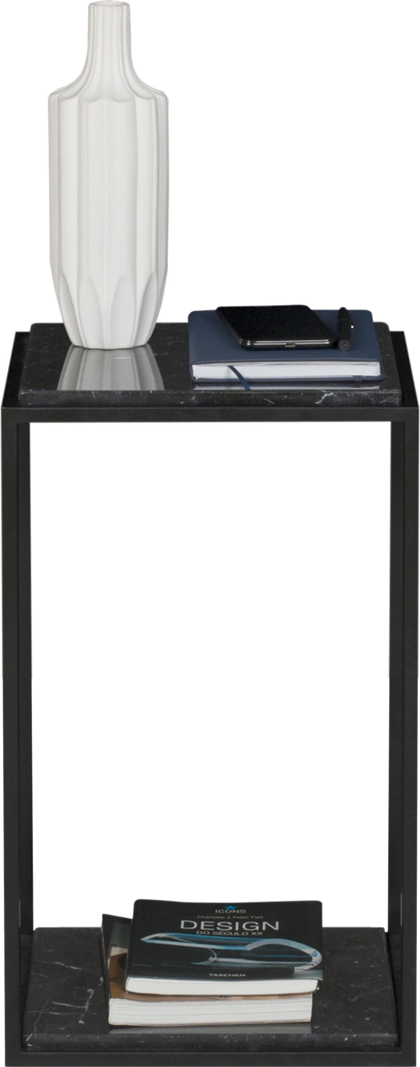 TemaHome Nachttisch Forrest mit 2 Marquina Marmorplatten & Metallgestell schwarz Breite 30 cm   Schlafzimmer > Nachttische   Schwarz   Temahome
