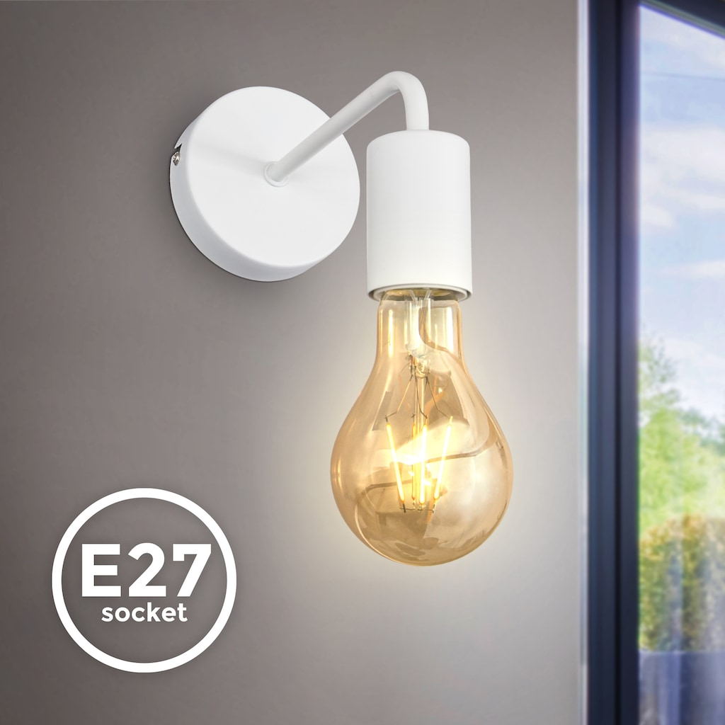 B.K.Licht Wandleuchte, E27, 1 St., Wandlampe,1 flammige Vintage Leuchte, Industrial Design, Retro Lampe, Stahl, Rund, E27, ohne Leuchtmittel