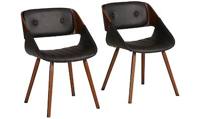 Home affaire Esszimmerstuhl »Langley«, 2er Set, aus schönem Kustleder Bezug, in unterschiedlichen Farbvarianten kaufen