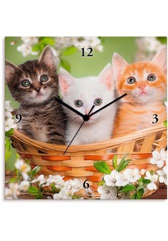 Artland Wanduhr »Katzen sitzen in einem Korb«, lautlos, ohne Tickgeräusche, nicht... kaufen