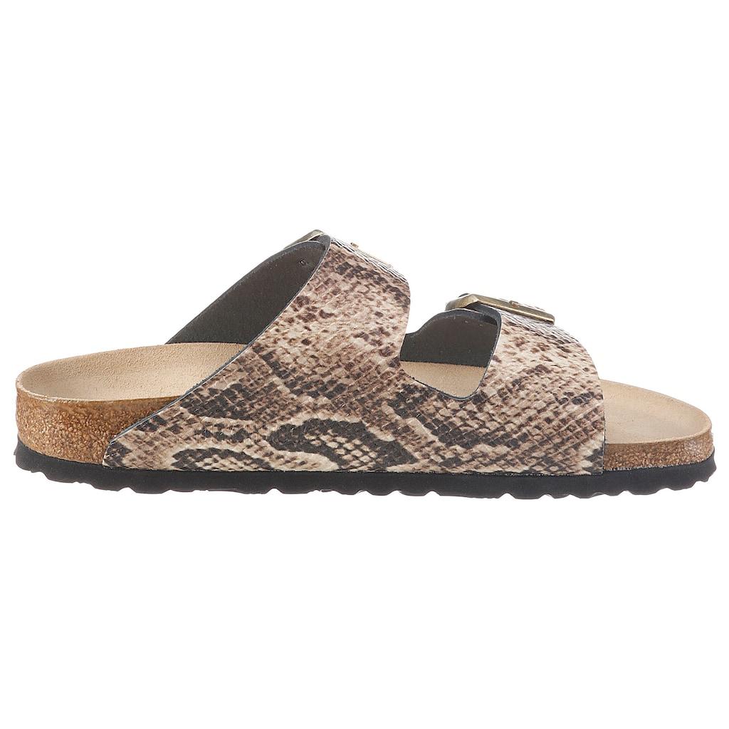 Birkenstock Pantolette »Arizona Snake«, aus Leder, Schuhweite: schmal