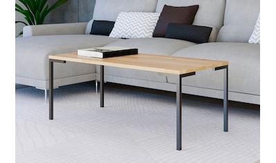 Homexperts Couchtisch »Roger«, Massivholz Eiche, Metall Untergestell in Schwarz, Breite 110 cm kaufen