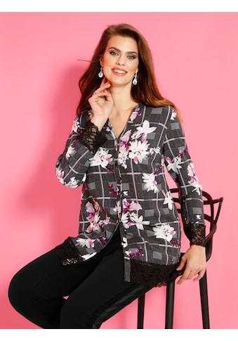 m. collection Bluse rundum mit Karo und Blumenmuster kaufen