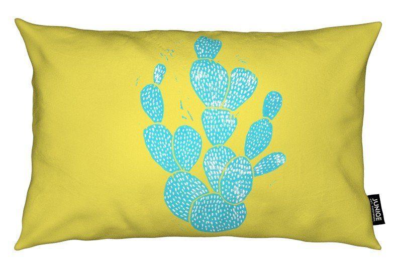 Dekokissen Linocut Cacti Desert Blue Juniqe