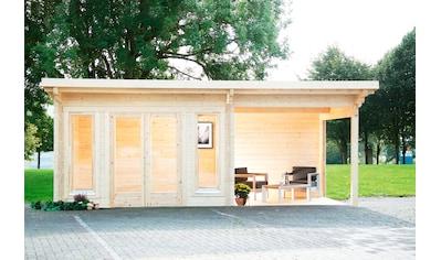 WOLFF FINNHAUS Set: Gartenhaus »Trondheim 70 - A XL«, BxT: 780x390 cm, Fußboden, Anbaudach mit Rückwand links kaufen