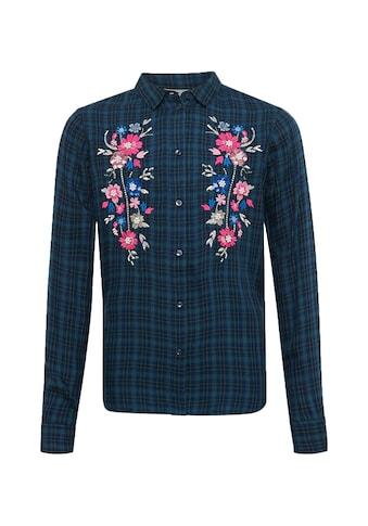 TOM TAILOR Hemdbluse »Karierte Bluse mit Blumenmuster« kaufen