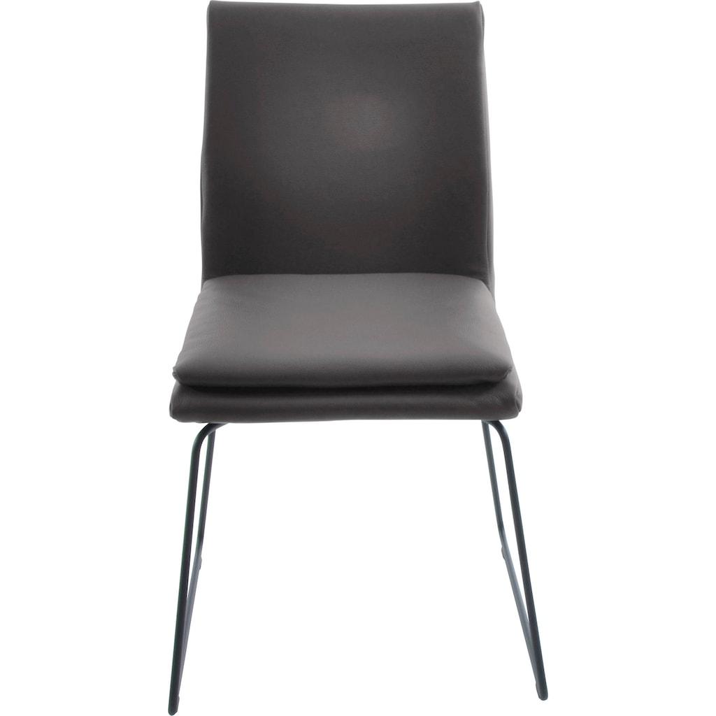 K+W Komfort & Wohnen Esszimmerstuhl »Creso«, mit Sitzkissen und Rundrohrkufe in Metall schwarz Struktur