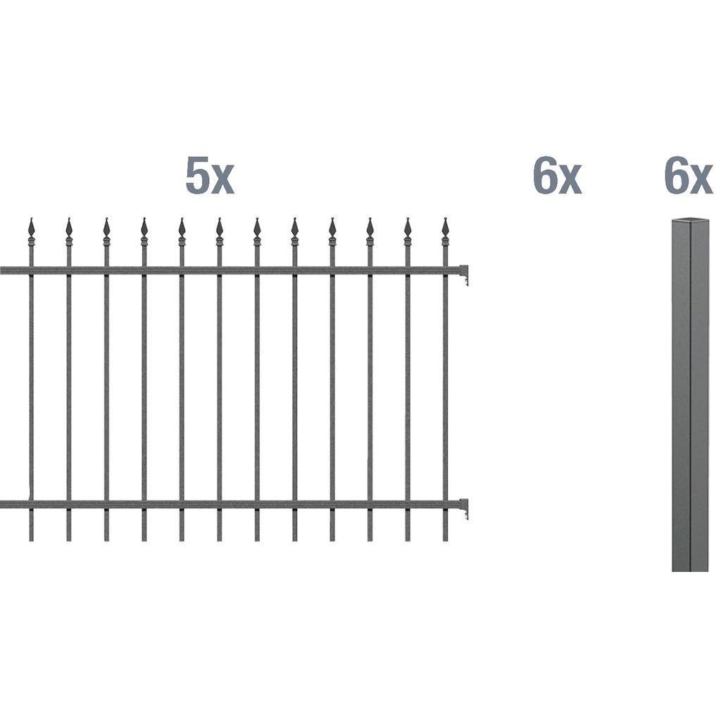 GAH Alberts Metallzaun »Chaussee«, 100 cm hoch, 5 Matten für 10 m, 6 Pfosten zum Aufschrauben