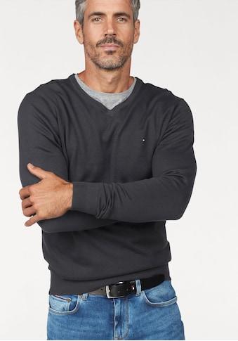 TOMMY HILFIGER V-Ausschnitt-Pullover »CORE COTTON SILK V-NK« kaufen