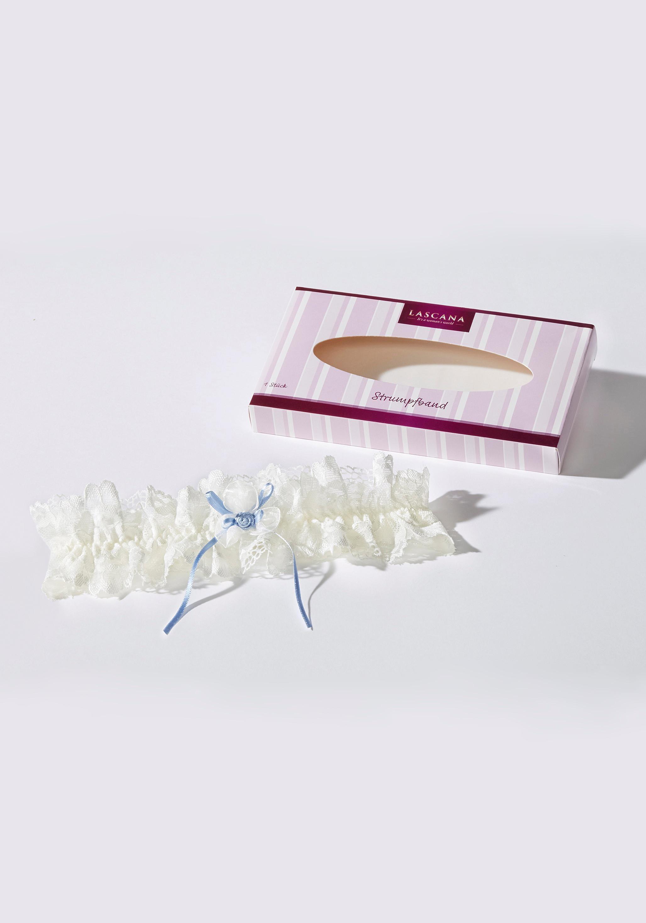 LASCANA Strumpfband, in edler Spitze, das perfekte Accessoire für deine Hochzeit beige Damen Strümpfe Dessous Damenwäsche Strumpfband