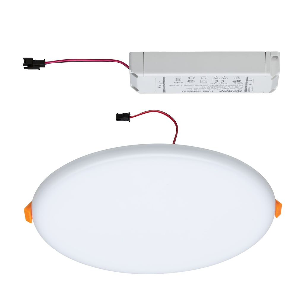 Paulmann LED Einbauleuchte »Panel Veluna VariFit IP44 3-Stufen-dimmbar rund 215mm 21W 3.000K Satin«, 1 St., Warmweiß