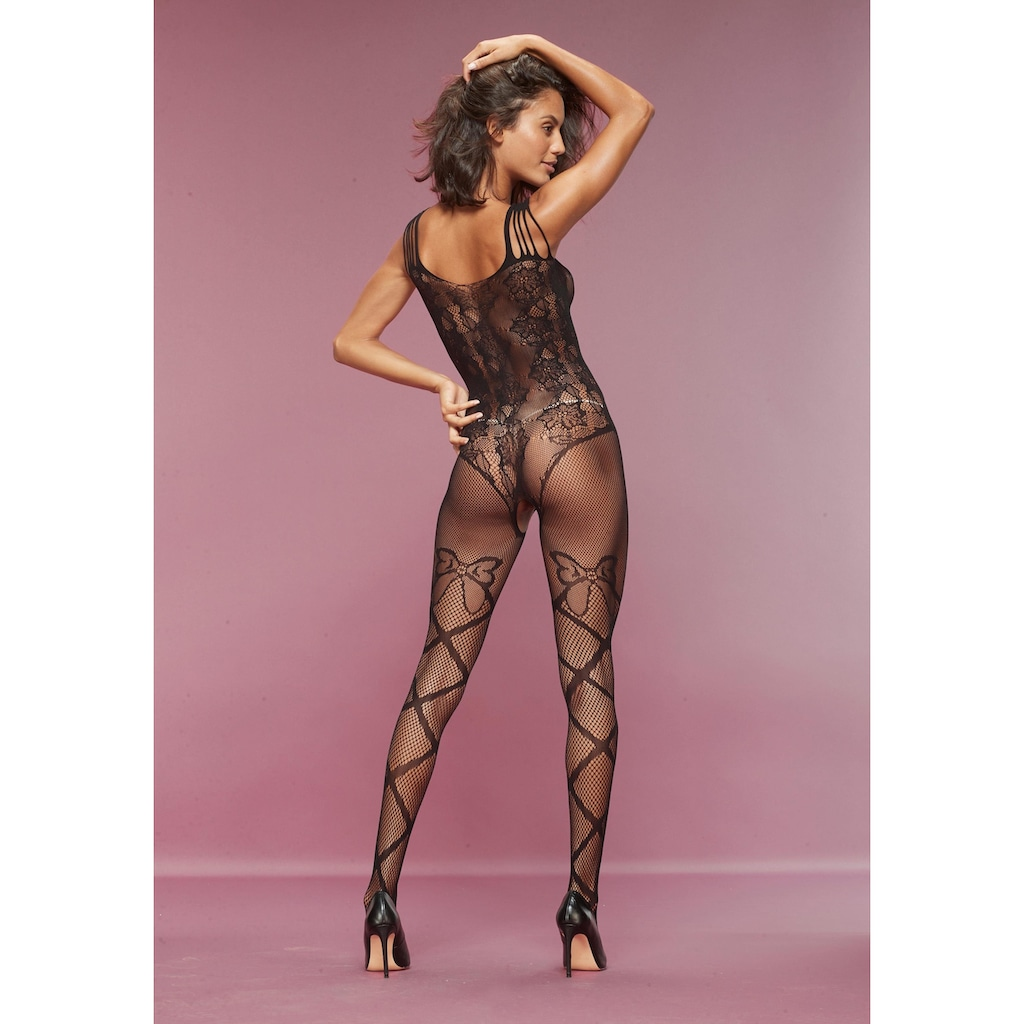 petite fleur gold Bodystocking-Ouvert, mit Blumenmuster