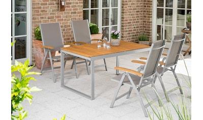 MERXX Gartenmöbelset »Naxos«, 5tlg., 4 Sessel, Tisch, klappbar, ausziehbar, Akazien kaufen