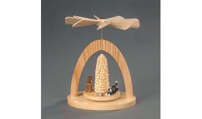 Albin Preissler Weihnachtspyramide »Wärmespiel - Katze mit Maus, Hund und Bäumchen« kaufen
