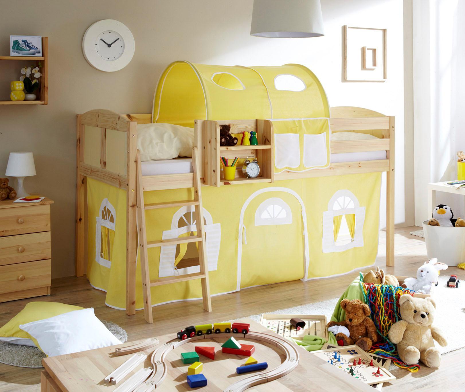 Ticaa Hochbett Eric gelb Kinder Kinderbetten Kindermöbel