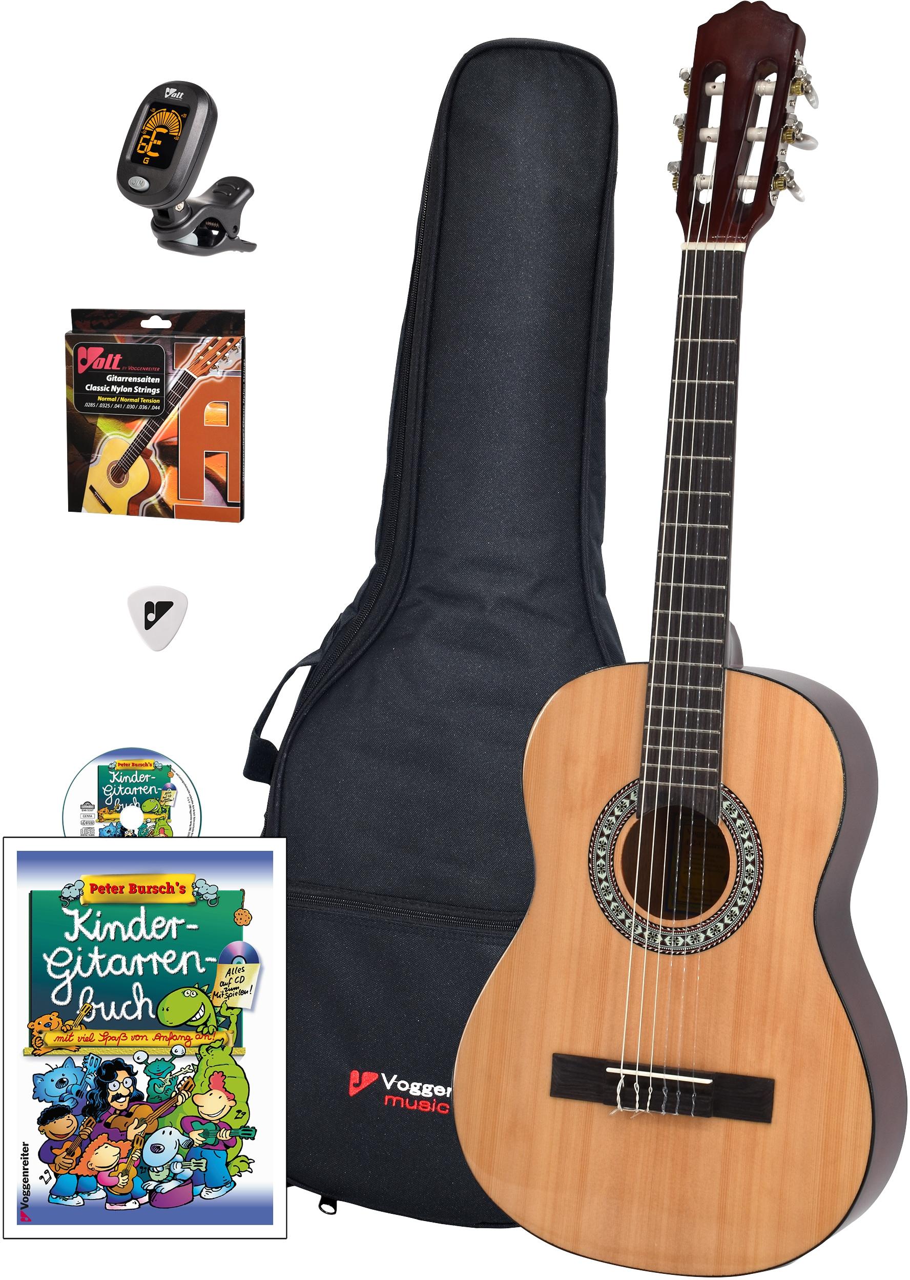 Voggenreiter Kindergitarre Voggys Kindergitarren-Set, 1/2 beige Gitarre Musikinstrumente