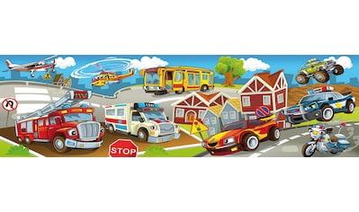 Papermoon Fototapete »Kids Cars Panorama«, matt, Vlies, 2 Bahnen, 350 x 100 cm kaufen