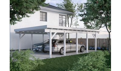 Kiehn-Holz Doppelcarport »KH 330 / KH 331«, Holz, 561 cm, weiß, Stahl-Dach, versch.... kaufen