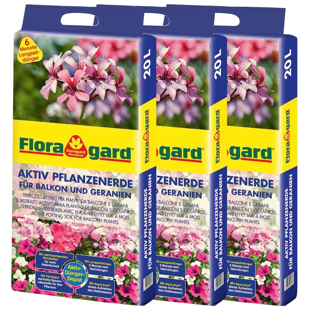 Floragard Geranienerde »Aktiv Pflanzenerde«, für Balkon und Geranien, 3x20 Liter