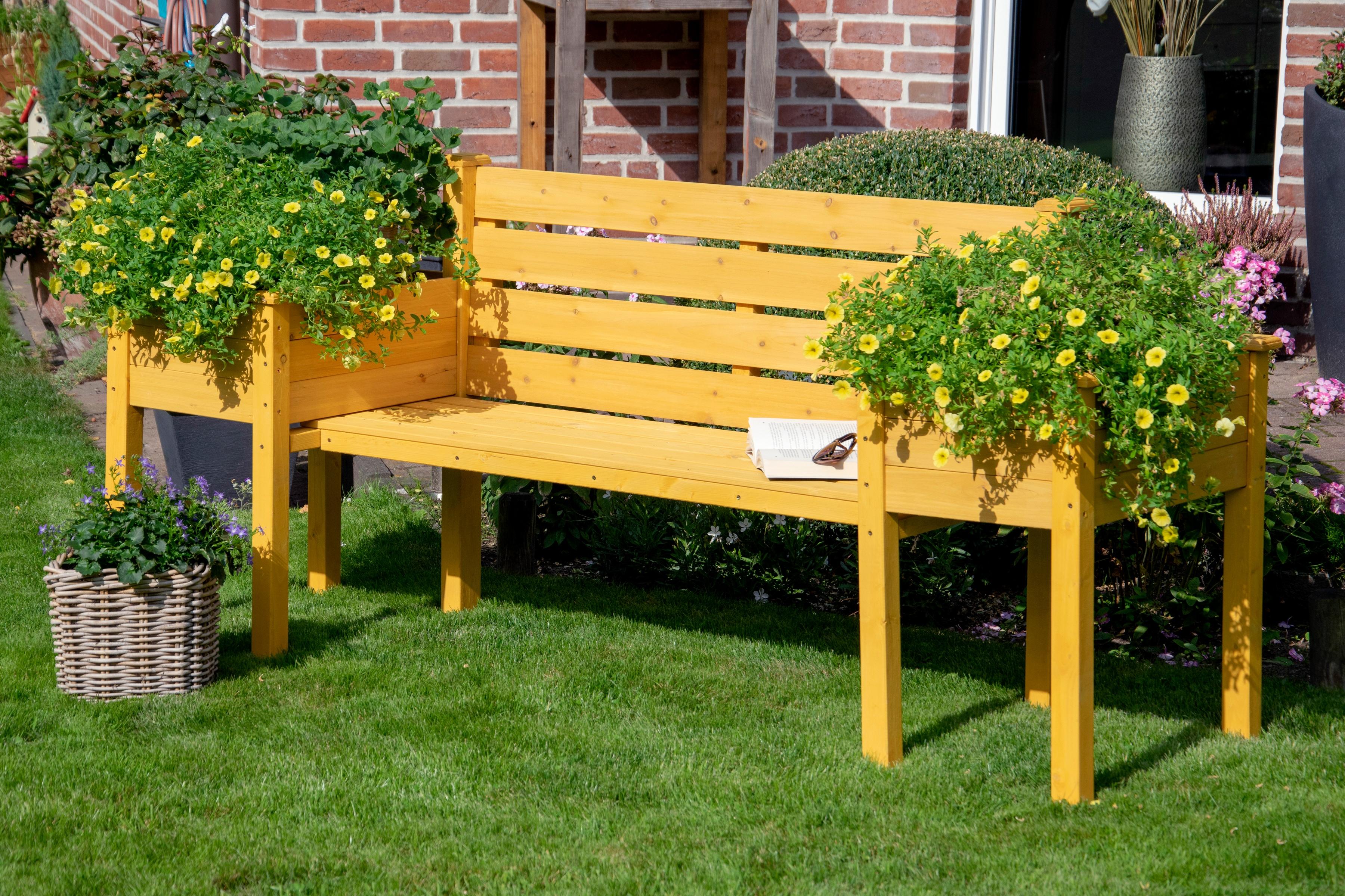 DOBAR Gartenbank mit seitlichen Pflanzkästen BxTxH: 211x64x92 cm