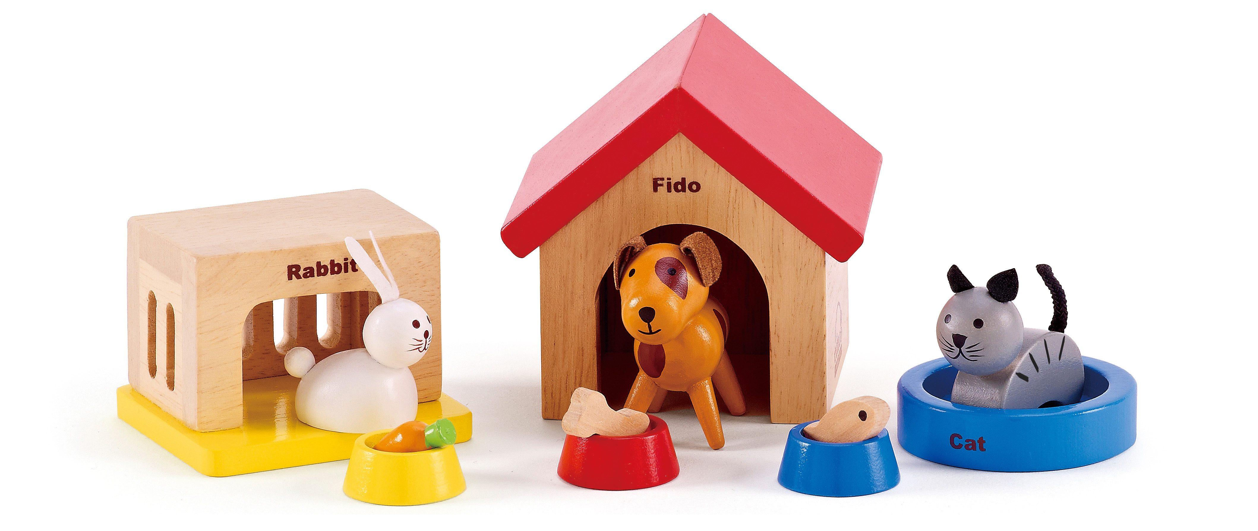 Hape Puppenhausmöbel Haustiere aus Holz für Puppenhaus, (Set, 12-tlg.), bunt, Kinder